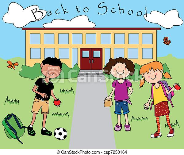 Fun School Drawing Kids Going Back to School