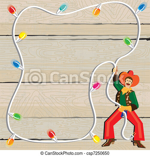 Vector Clipart of Cowboy with Christmas Lights Lasso against ...