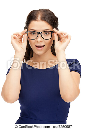 lovely woman in spectacles - csp7250987