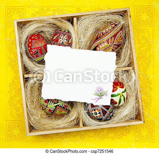 Art Easter greeting card with Traditional Easter decoration - csp7251546