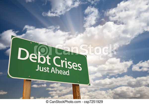 Debt Crises Green Road Sign - csp7251929