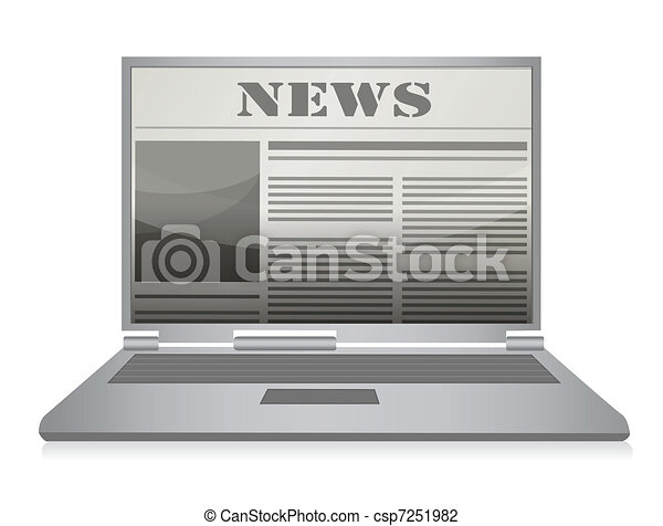 Online newspaper. Laptop and news - csp7251982
