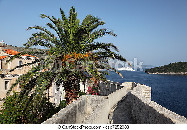 View from the fortified city wall of Dubrovnik, Croatia - csp7252083