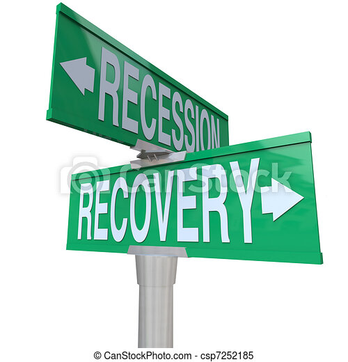 Recession Recovery Street Signs Economy Growth - csp7252185
