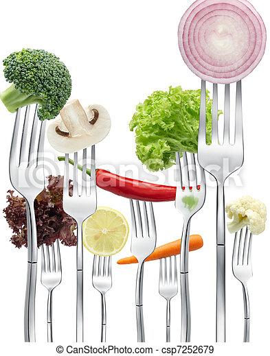 vegetables on forks - csp7252679
