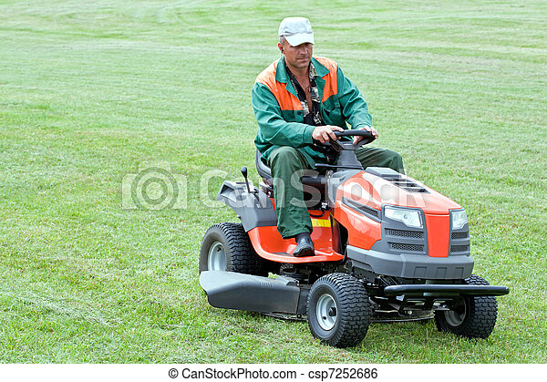 Professional lawn mowing - csp7252686