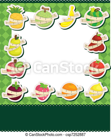 fresh fruit and ruler health card - csp7252887