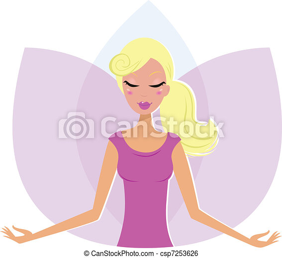Yoga meditating Woman in Lotus Flower isolated on white   - csp7253626
