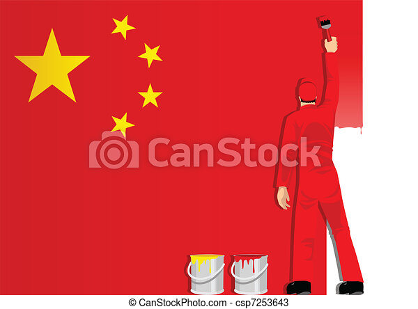 Painting The China Flag - csp7253643