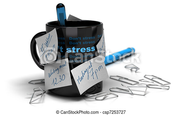 mug with memo notes glued on it with paperclips distorded, white background and blur effect - csp7253727