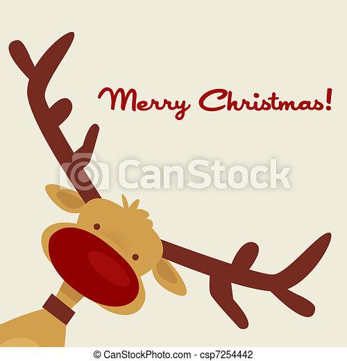トナカイ, クリスマスカード - csp7254442