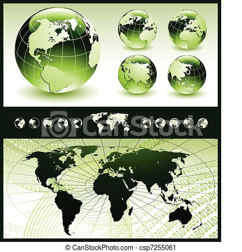 Green Globes with World Map - csp7255061