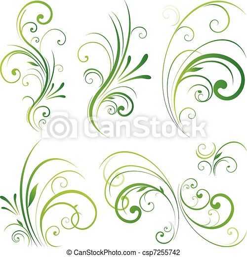 Floral scroll ornament - csp7255742