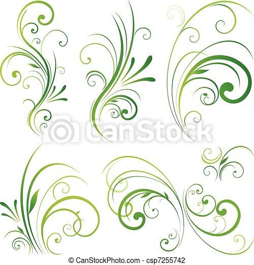 Floral scroll ornament - csp7255742