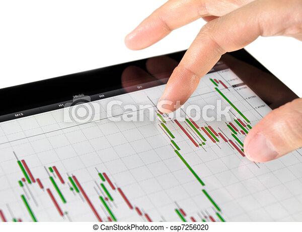 Touching Stock Market Chart - csp7256020