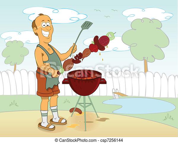 BBQ cartoon cook - csp7256144