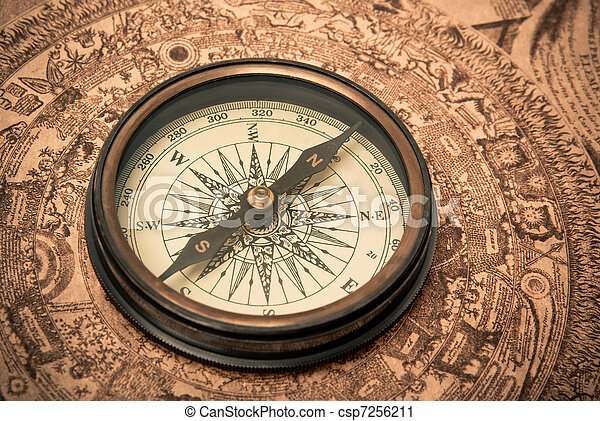 Antique Compass on Map - csp7256211