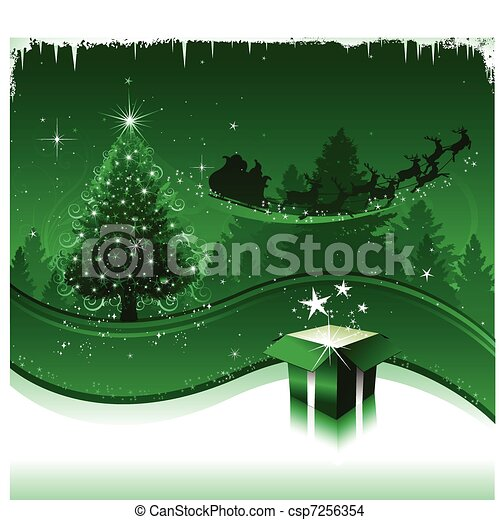Green Christmas greeting card - csp7256354