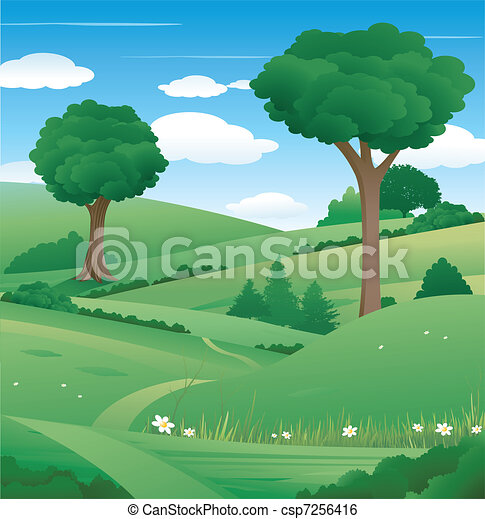 Nature landscape with tree - csp7256416