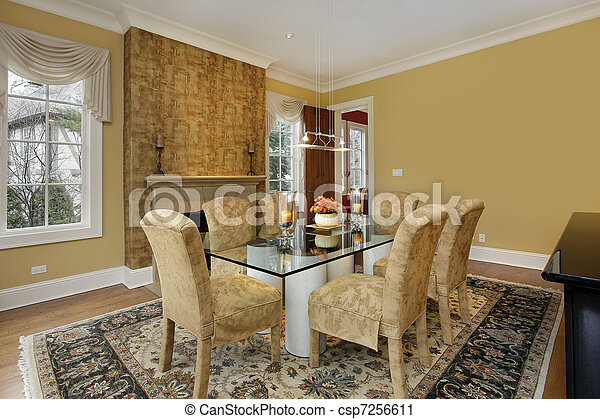 Dining room with gold walls - csp7256611