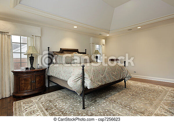 Master bedroom with tray ceiling - csp7256623
