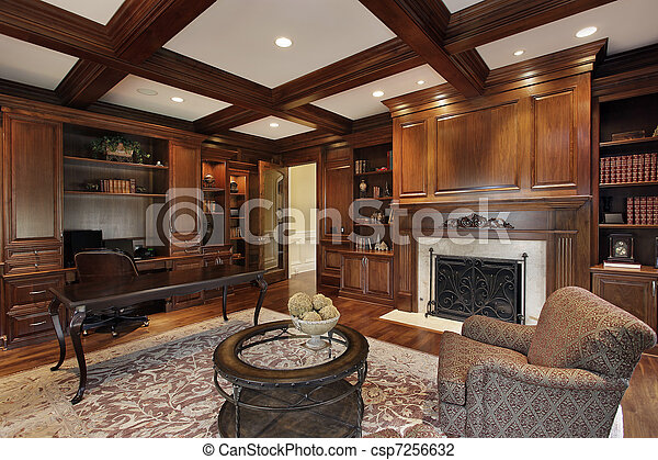 Library with marble fireplace - csp7256632