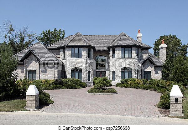 grande, pedra, lar, pilares - csp7256638