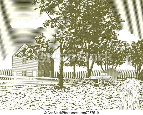 Woodcut Shaker Village - csp7257519