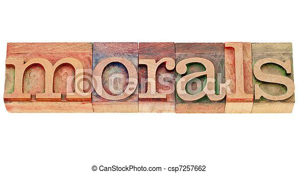 morals word in lettepress type - csp7257662