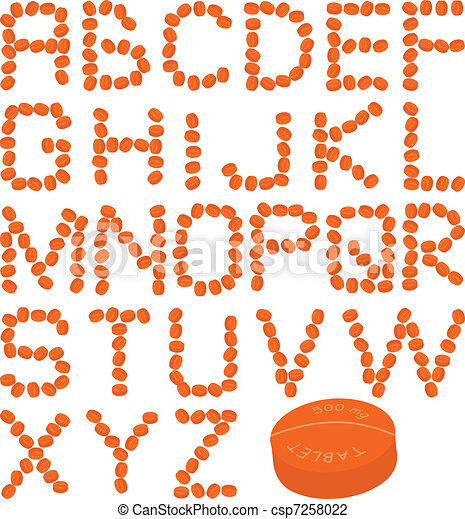 orange pills alphabet - csp7258022