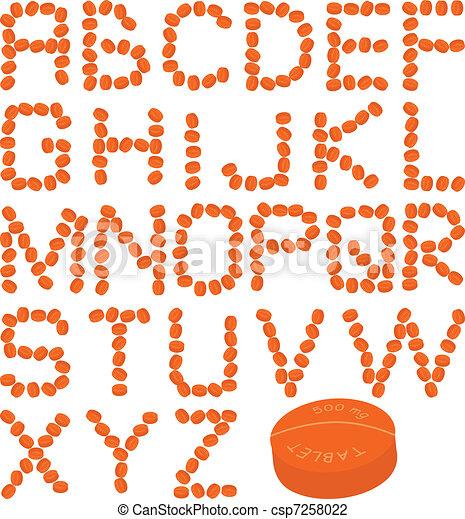 orange pills alphabet - csp7258022