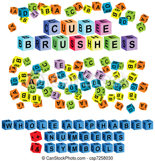 cube alphabet   numbers & symbols - csp7258030