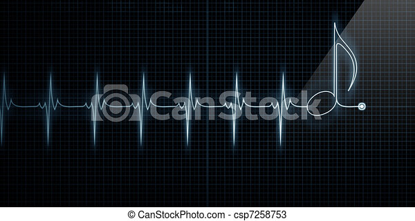 Heart Monitor with Music Note - csp7258753