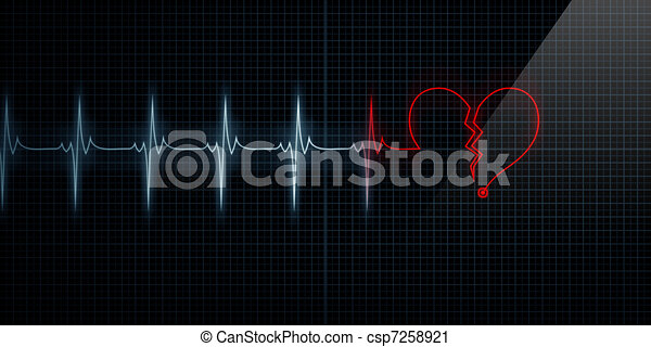 Broken Heart Monitor Turning Red - csp7258921