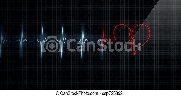 Broken Heart Monitor Turning Red - csp7258921