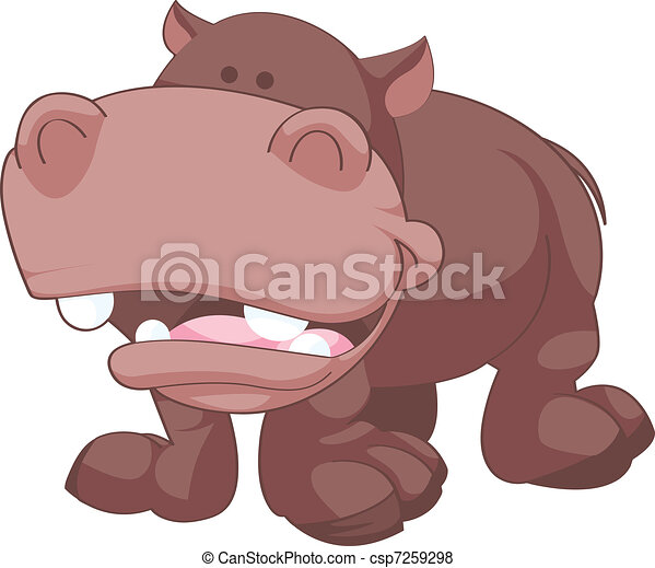 Happy Hippo Vector Illustration - csp7259298