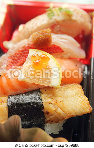 Japanese sushi, close up shot - csp7259688