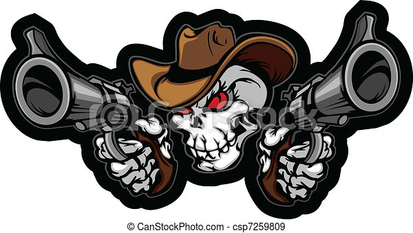 Skull Cowboy Aiming Guns - csp7259809