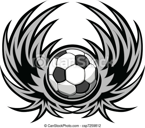 Soccer Template with Wings - csp7259812