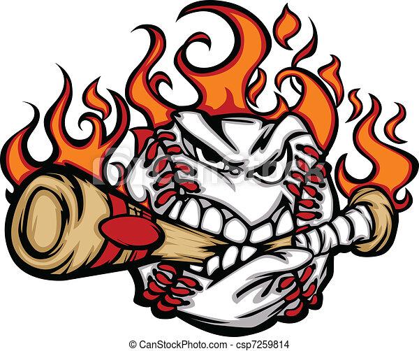 Baseball Flaming Face Biting Bat - csp7259814