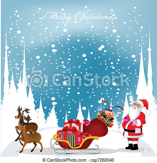 christmas card with Santa Claus,reindeers and snowflakes in the blue sky, vector illustration - csp7260040