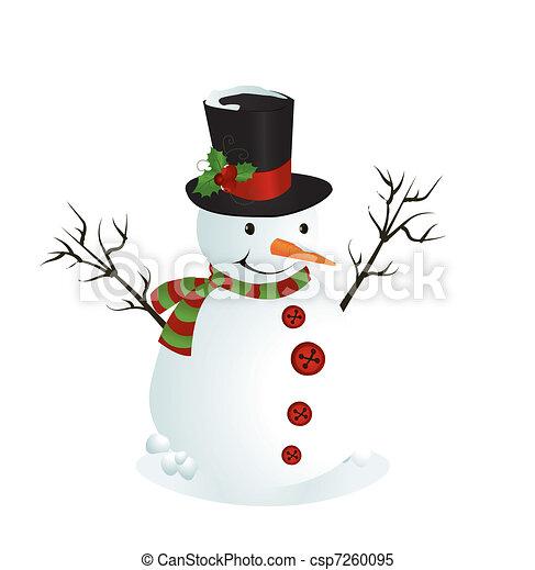 Vecteur clipart de bonhomme de neige mignon illustration mignon csp7260095 recherchez - Clipart bonhomme de neige ...