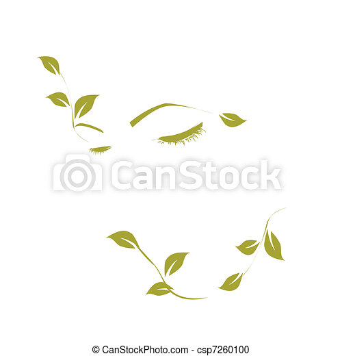 Vector abstract woman with leaf - csp7260100