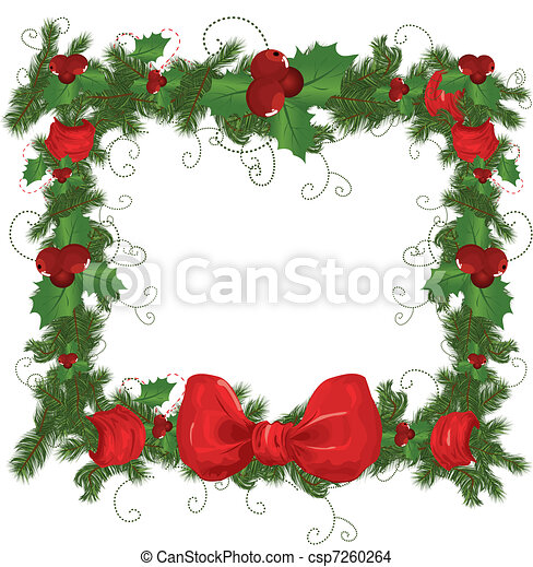Vector illustration contains the image of Christmas frame  - csp7260264