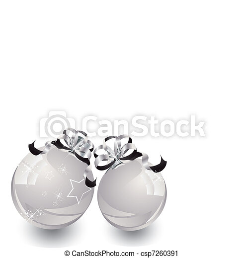 White Christmas bulbs with snowflakes ornaments on a white background - csp7260391