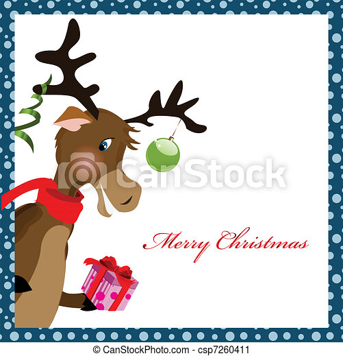 reindeer with gift box - csp7260411