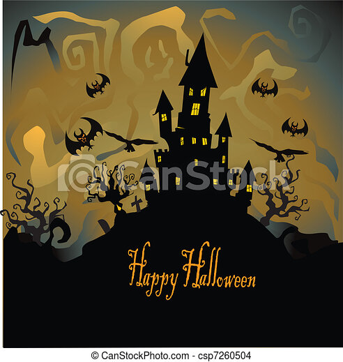 eps vector of halloween with haunted house, bats and pumpkin
