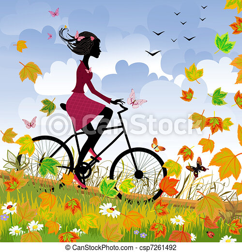 Girl on bike outdoors in autumn - csp7261492