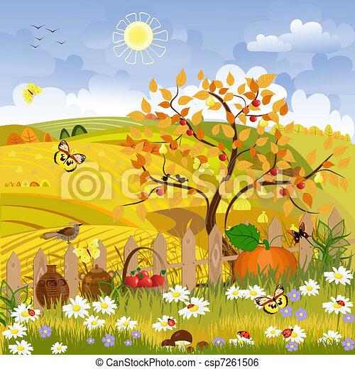 Rural landscape autumn tree - csp7261506
