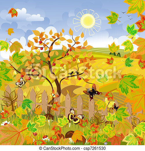 Rural landscape autumn - csp7261530
